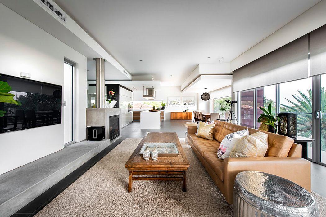 Jolie maison contemporaine construite dans la ville australienne - cuisine ouverte sur salon m