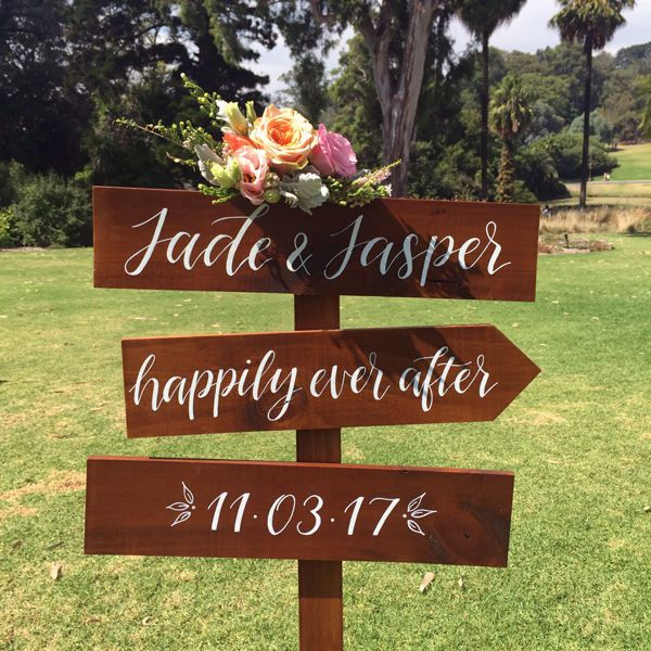 Wedding Directional Signs Wooden Wedding Welcome Sign Ceremony