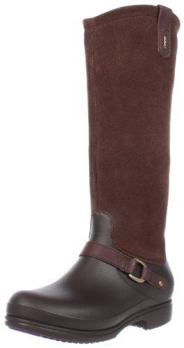 Crocs Women's Equestrian Tall Boot Suede Manmade Sole Classic Riding Stunning Patterned Crocs