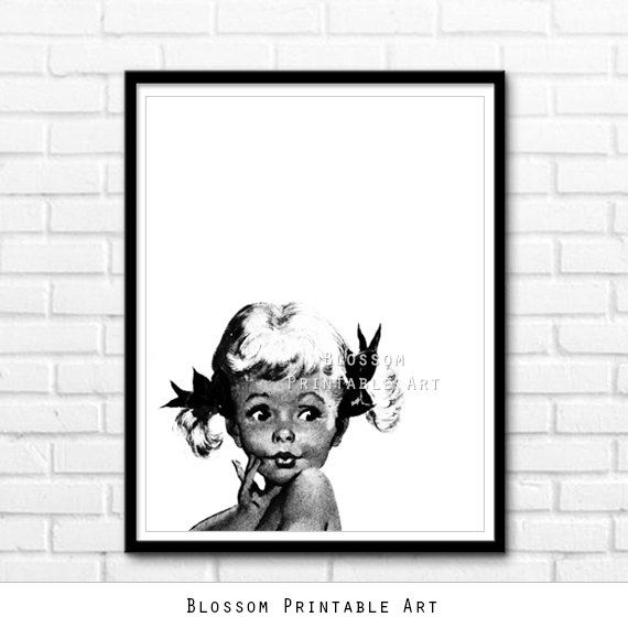 Vintage art black and white girl cool print wall decor printable vintage