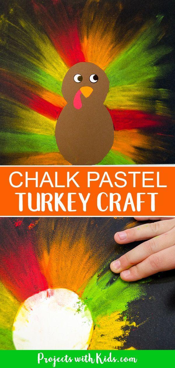 Colorful Chalk Pastel Turkey Craft for Kids #turkeyprojectsforkids Kids will lov…