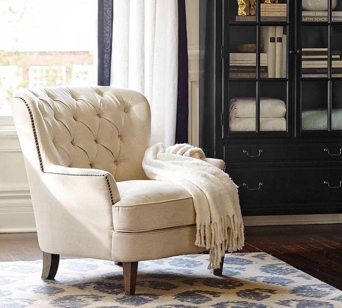 Cardiff Tufted Upholstered Armchair Ivory