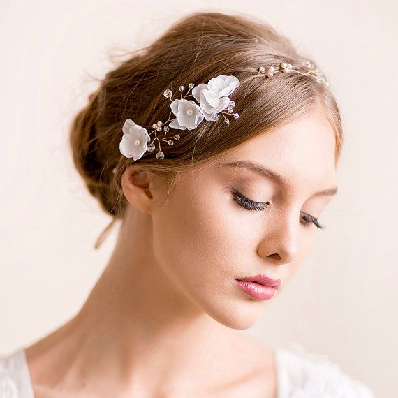 Bridal Hair Vine - Delicate Wedding Headband - Crystal Hair Piece with Silk Flowers - Floral Halo - Gold Acessories - Wreath