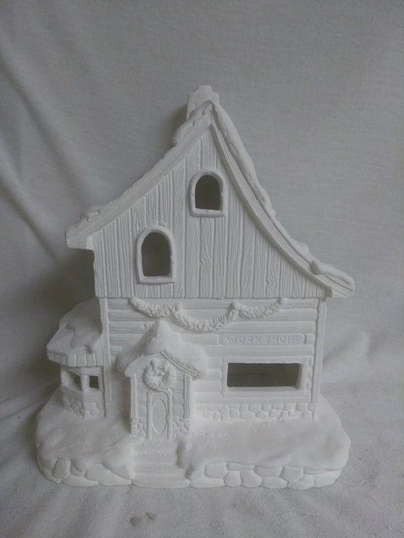 North Pole Elves Workshop Village House 8 X 7 X 5 Ready To Paint Ceramic Bisque In 2020 Ceramic Bisque North Pole Elf Ceramics