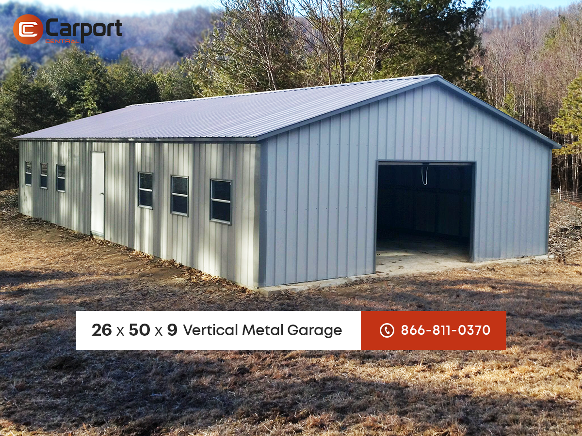 24 x 46 x 12 vertical roof style side entry metal garage 24 x 46 x 12 vertical roof style side entry metal garage featuring 1 10 x 10 2 8 x 8 roll up garage doors 1 30 x 30 window and rubansaba