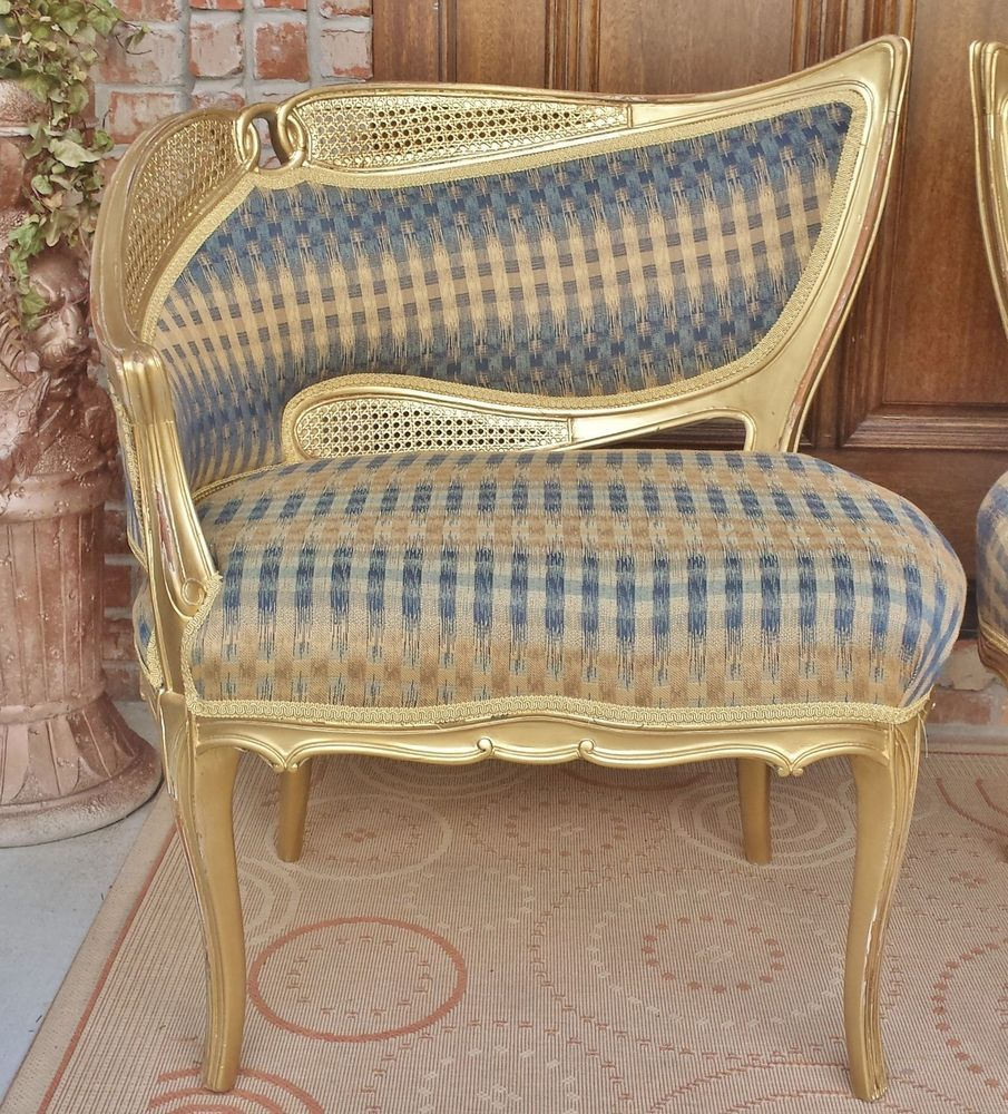 OLD VTG FRENCH LOUIS XV ASYMMETRICAL GILT WOOD CANE FABRIC BERGERE SALON CHAIR In Antiques