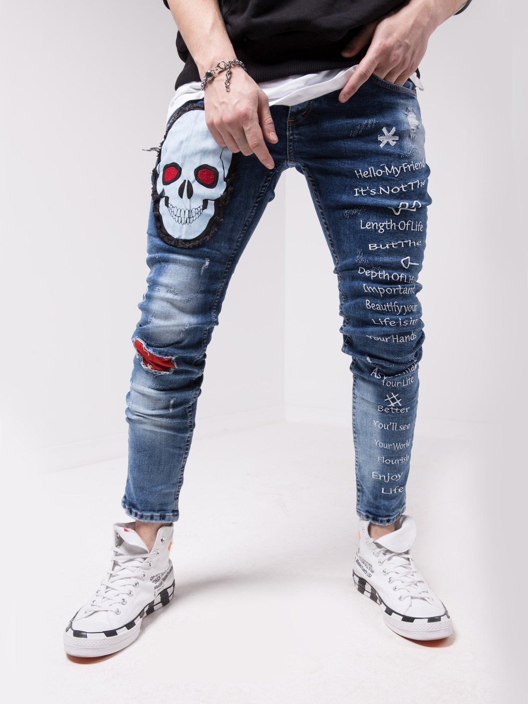 Wise Skull Mens Designer Jeans Men Fashion Casual Outfits Denim Jeans Men [ 1440 x 1080 Pixel ]