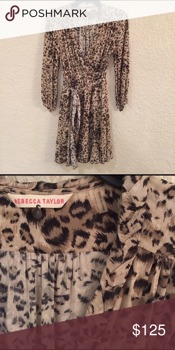 fee0f12542 Rebecca Taylor animal print silk dress Rebecca Taylor animal print silk  dress. Long sleeve wrap-type dress with tie belt