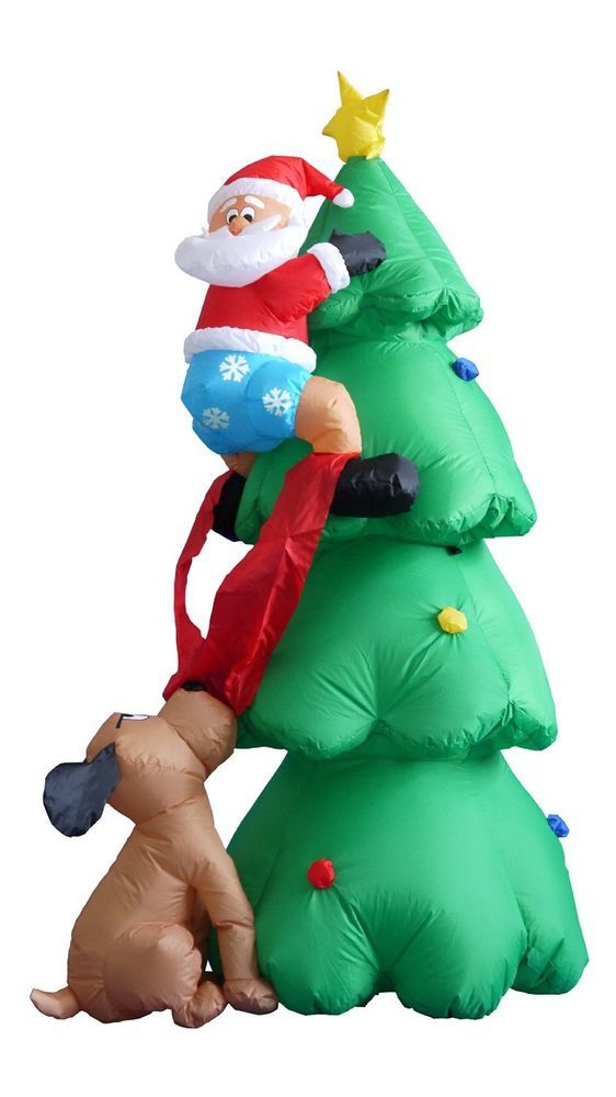 6\u0027 Inflatable Santa on Tree Chased by Dog Lighted Outdoor Christmas - inflatable outdoor christmas decorations