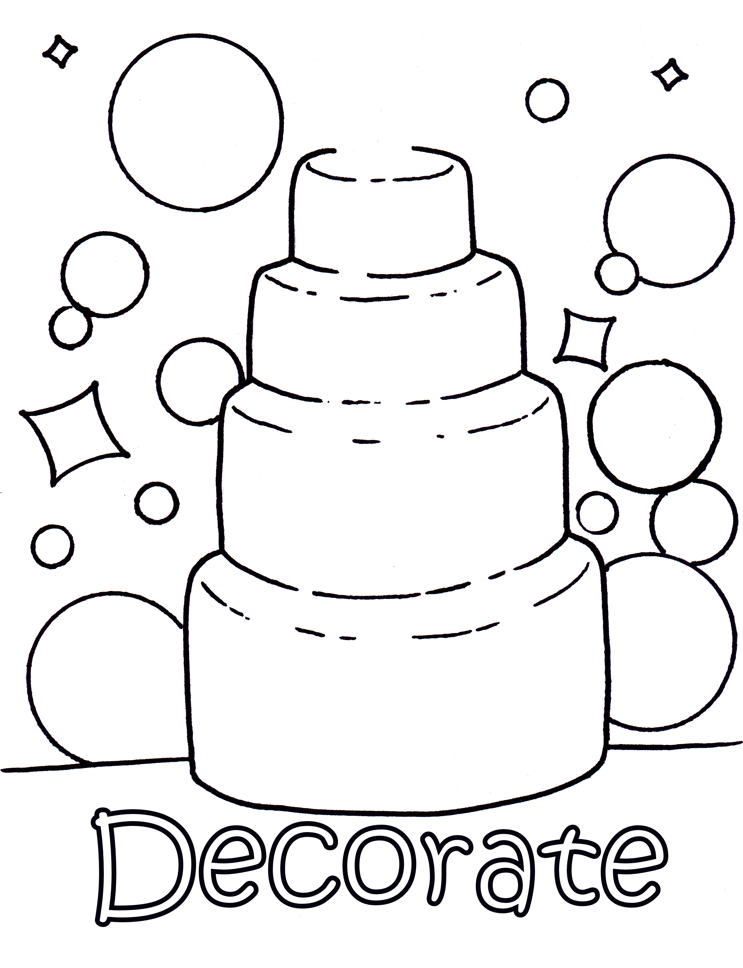 Decorate Your Own Wedding Cake Colouring Page