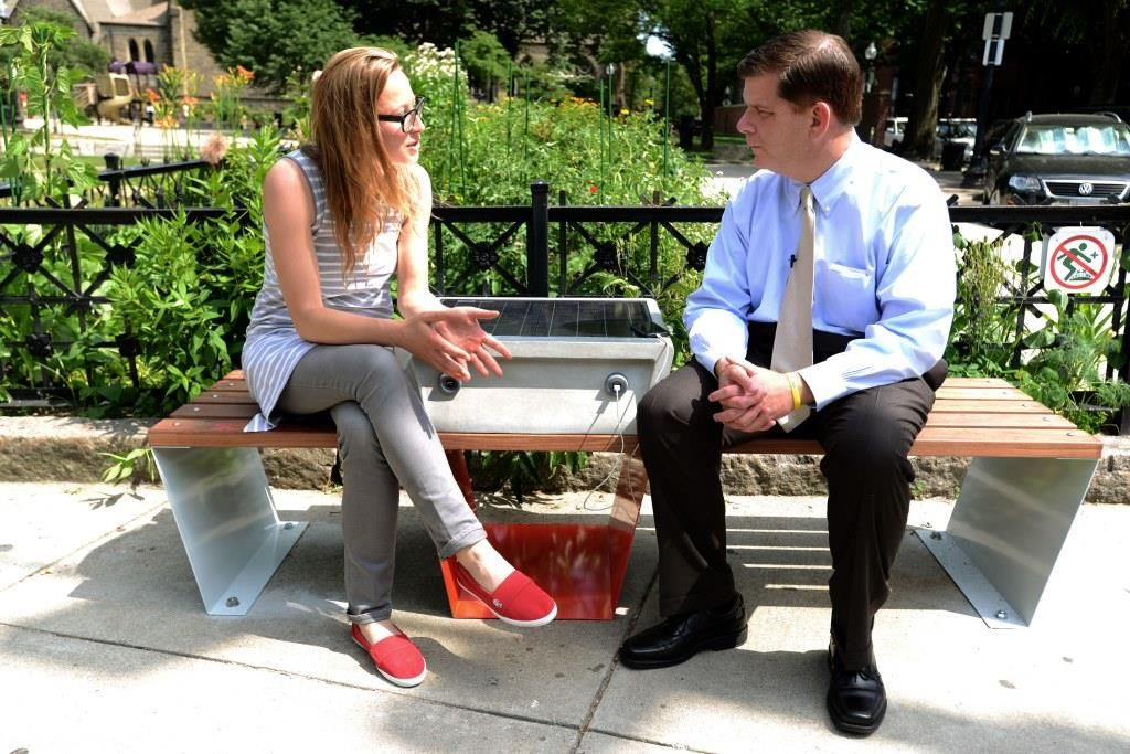 Solar Powered Benches Coming To Area Parks In The City Of Boston Recharge Your Devices While Enjoying R Solar Charging Station Solar Power Diy Solar Charging