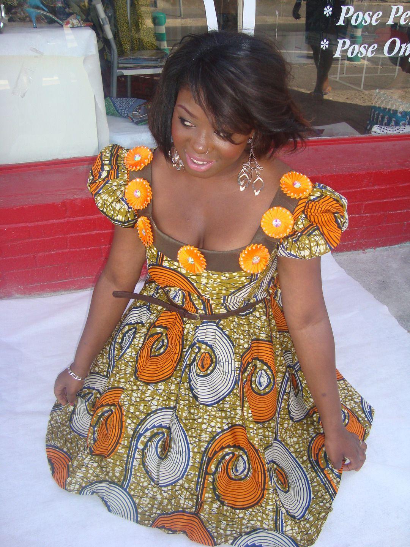 Robe d'été en pagne orange, taille 38 robe mi longue. : Robe par natouchka-b … | Robe mi longue ...