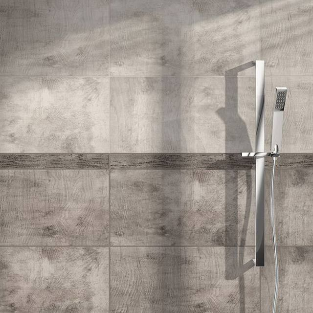 Carrelage mural Concerto Marron 26,5 x 52,5 cm - CASTORAMA Sdb - salle de bain carrelage gris et blanc