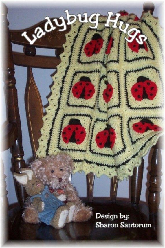 Ladybug Hugs Crochet Baby Afghan or Blanket Crochet Pattern PDF - INSTANT DOWNLOAD.