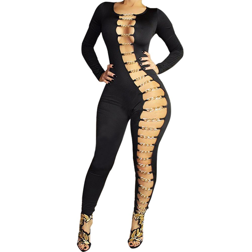 nice attractive ladies bandage jumpsuit hollowed out away reduce