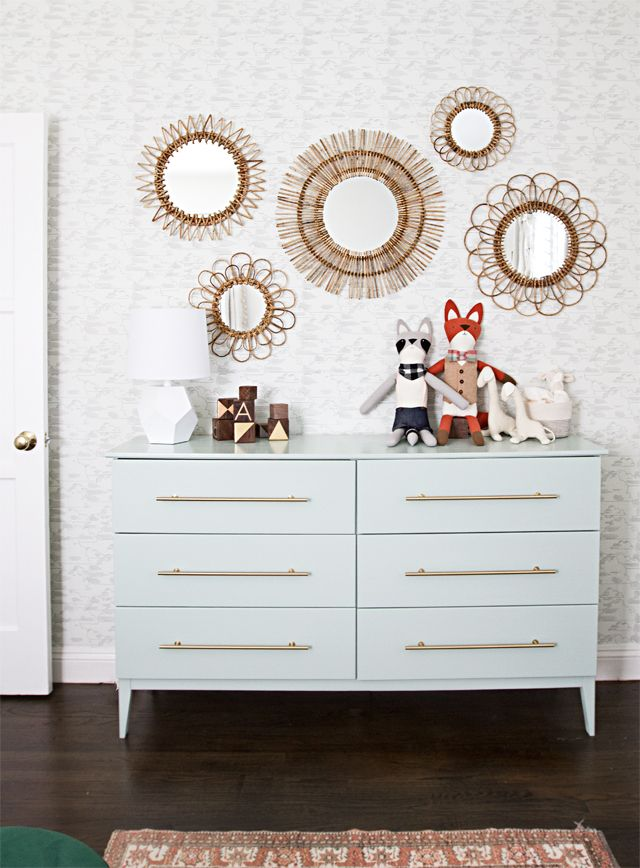 A Modern Nursery Dresser    IKEA HACKS    A Coat Of Soft Green Paint And A  Set Of Brass Bar Pulls Transformed IKEAu0027s Wooden Tarva Dresser Into  Something ...