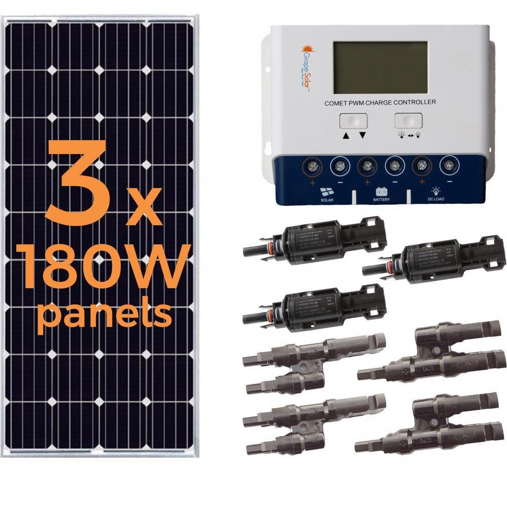 Grape Solar 540 Watt Off Grid Solar Panel Kit Gs 540 Kit Bt The Home Depot Off Grid Solar Panels Solar Panel Kits Solar Energy Panels