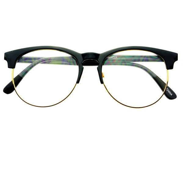 43041913678 Retro Style Keyhole Half Frame Round Eyeglasses Black Gold R1821 ( 9.95) ❤  liked on Polyvore featuring accessories