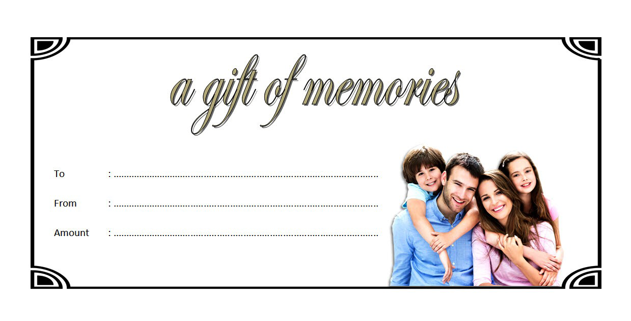 Family Photography Gift Certificate Template Free Printable