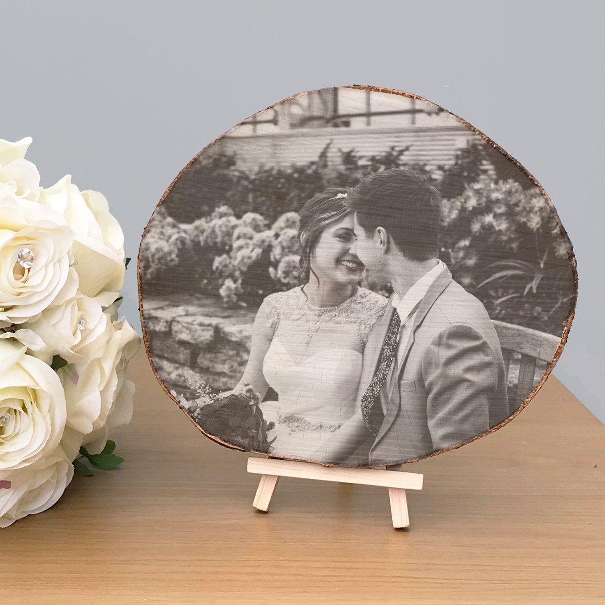 Wood Slice Photo Gift Personalised 5th Wedding