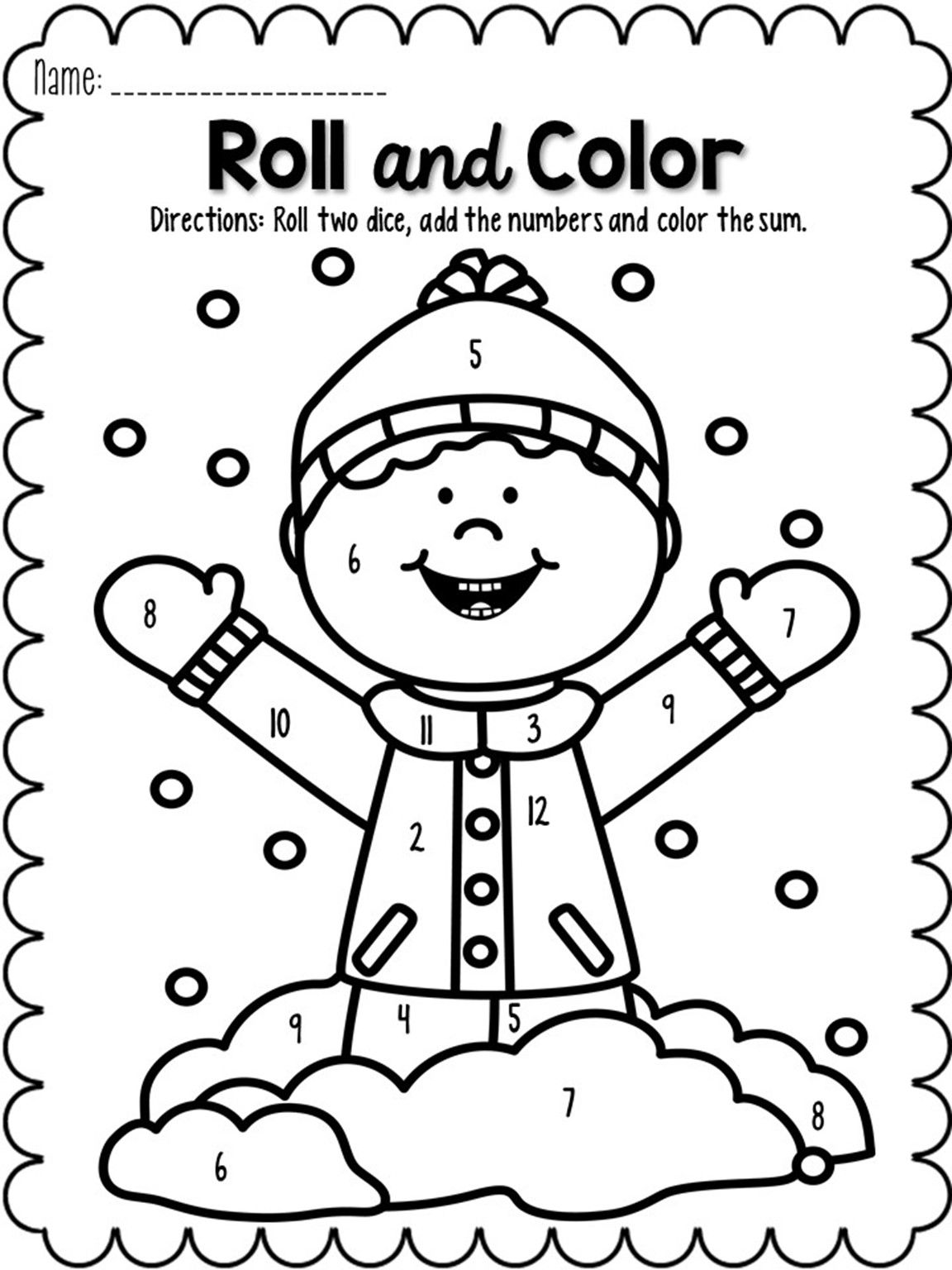 Roll and Color January Coloring pages winter, Easy