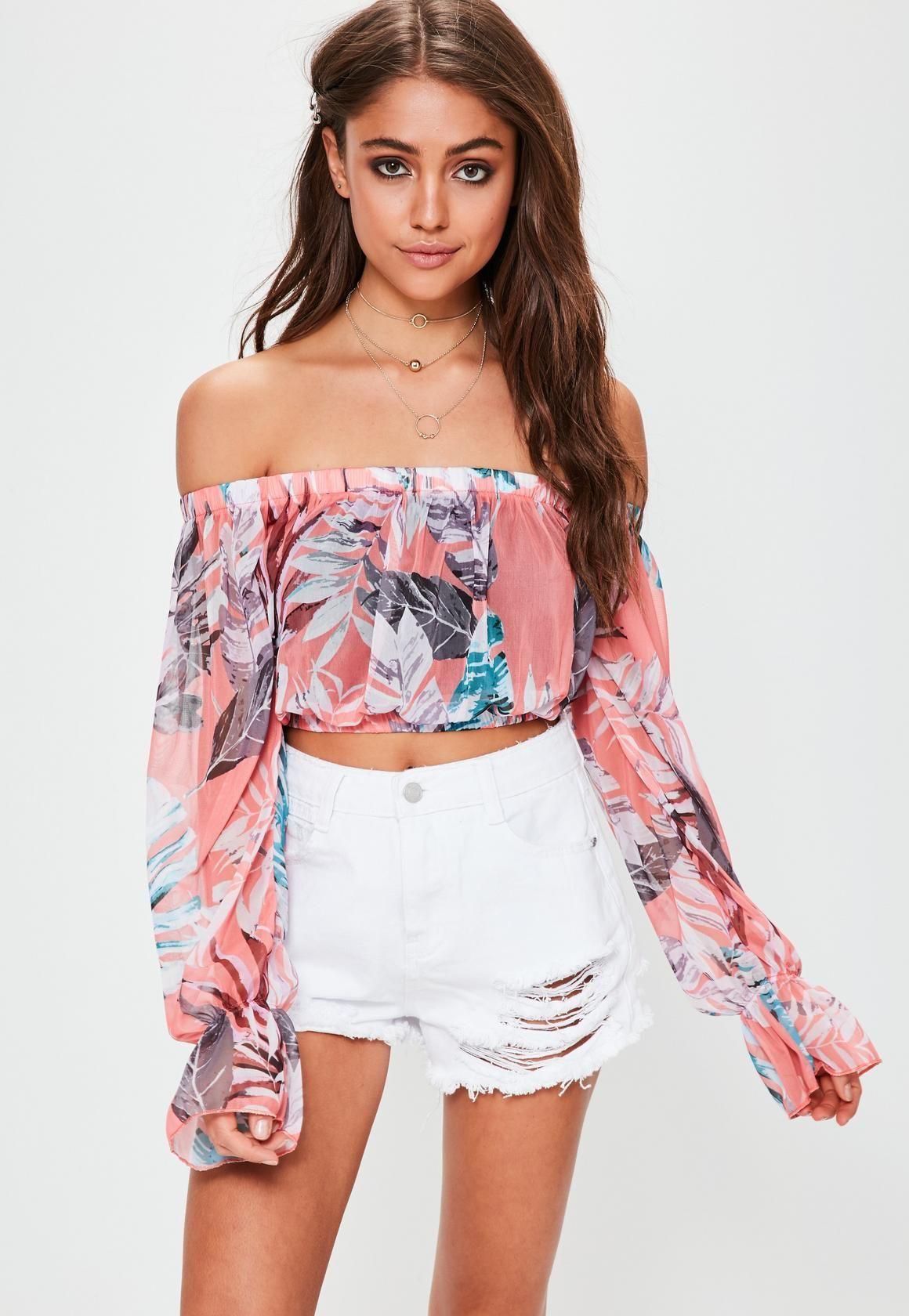 2a20c1e6962 missguided. coral bardot palm print mesh crop top. #fashion | Summer ...