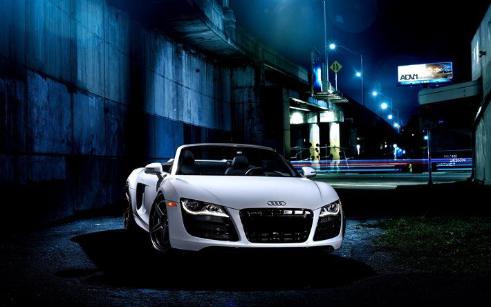 If You Like To Collect Some Beautiful Car Wallpapers Here Is One Of The Best Car Wallpaper With White Audi At Night View Audi Is A Mid Engine With