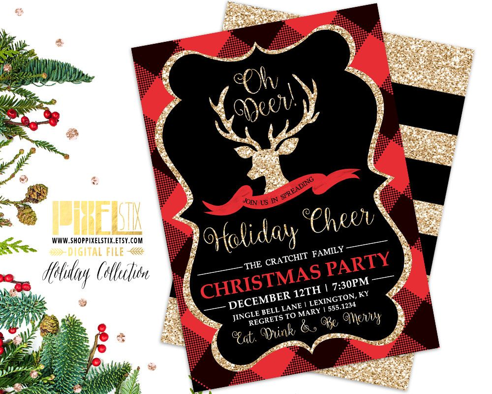 Christmas Party Invitation, Holiday Party Invite, Gold Glitter Deer ...