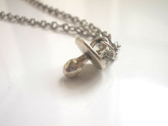 Pacifier Charm Necklace Sterling Silver Tiny Baby Pacifier Charm Necklace Gift for Mom to Be Pacifier Necklace Tiny Pacifier Necklace