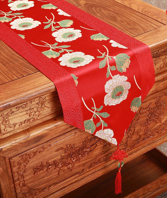 Rustic Jacquard Table Runners Dining Table Mats Chinese Knot Patchwork Table Linen Silk Brocade Table Cloth Part Table Runners Table Cloth Printed Table Runner