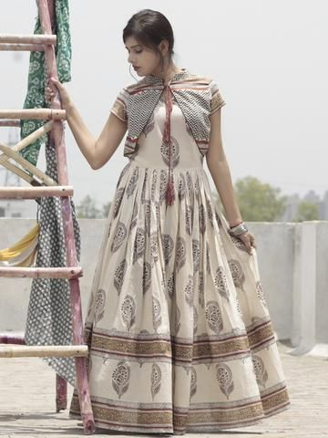 340eb4e208 Ivory Maroon Rust Black Hand Block Printed Long Cotton Dress with Gathers    Tassels - DS14F001