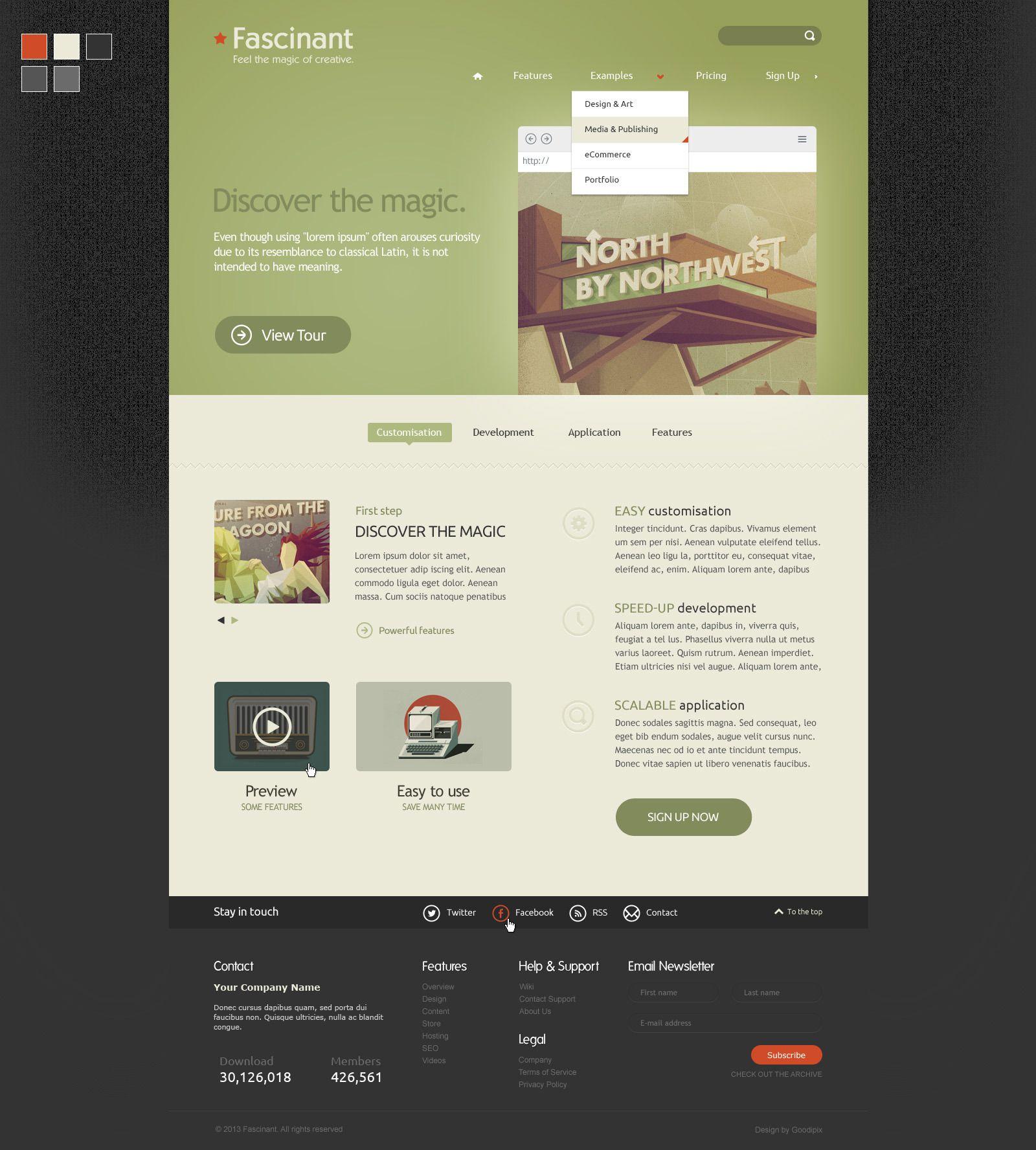 PSD Template - Fascinant  #wordpress #premium #theme #flatdesign #webdesign #design #graphicdesign #template #psd #photoshop #retro