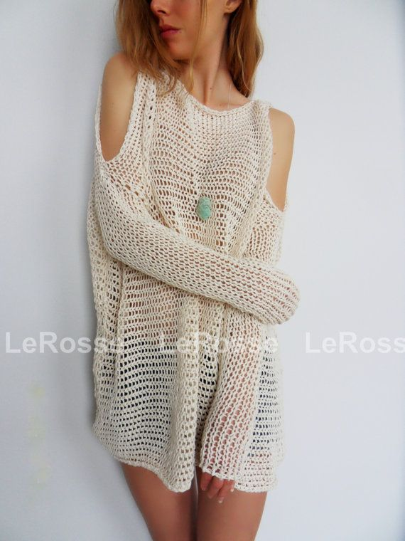 Oversized/Slouchy knit sweater/tunic. Open shoulders knit tunic ...