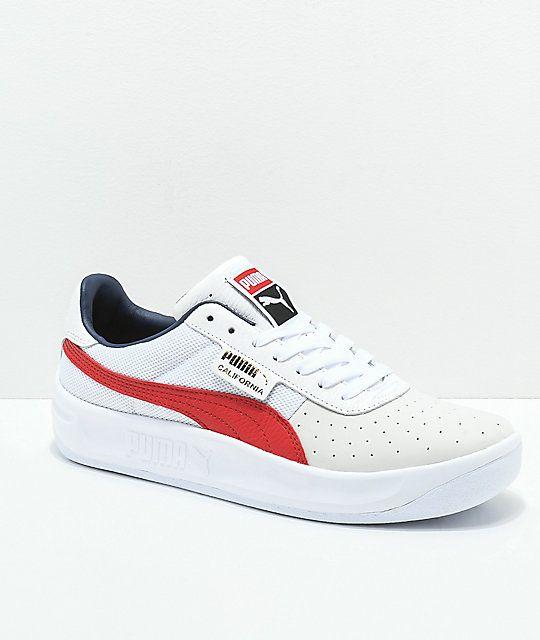 PUMA California Casual White & Red Shoes | Zapatillas vans ...
