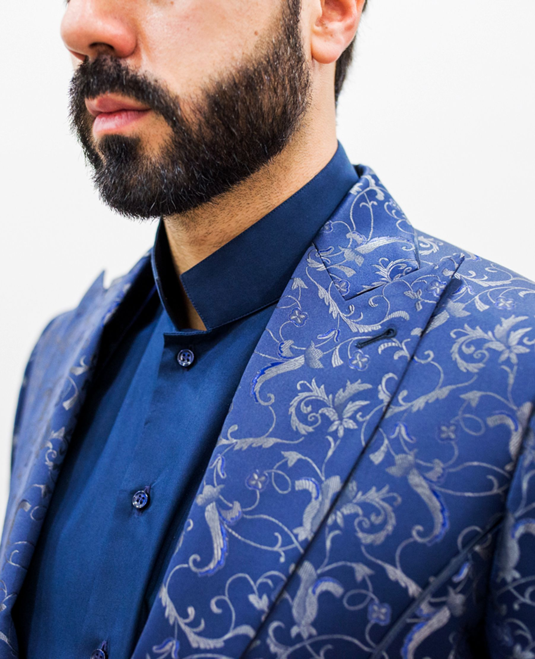 Abito Cerimonia Damascato Blu Elegante Giacca a un Bottone