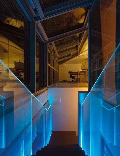 led glass lighting. create a mood with led lighting and glass balustrade lmina faraone by ghini led k