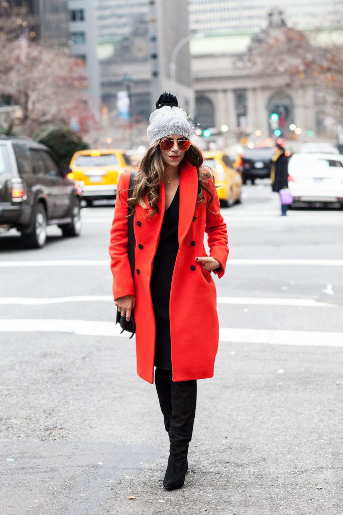 Black dress and red coat