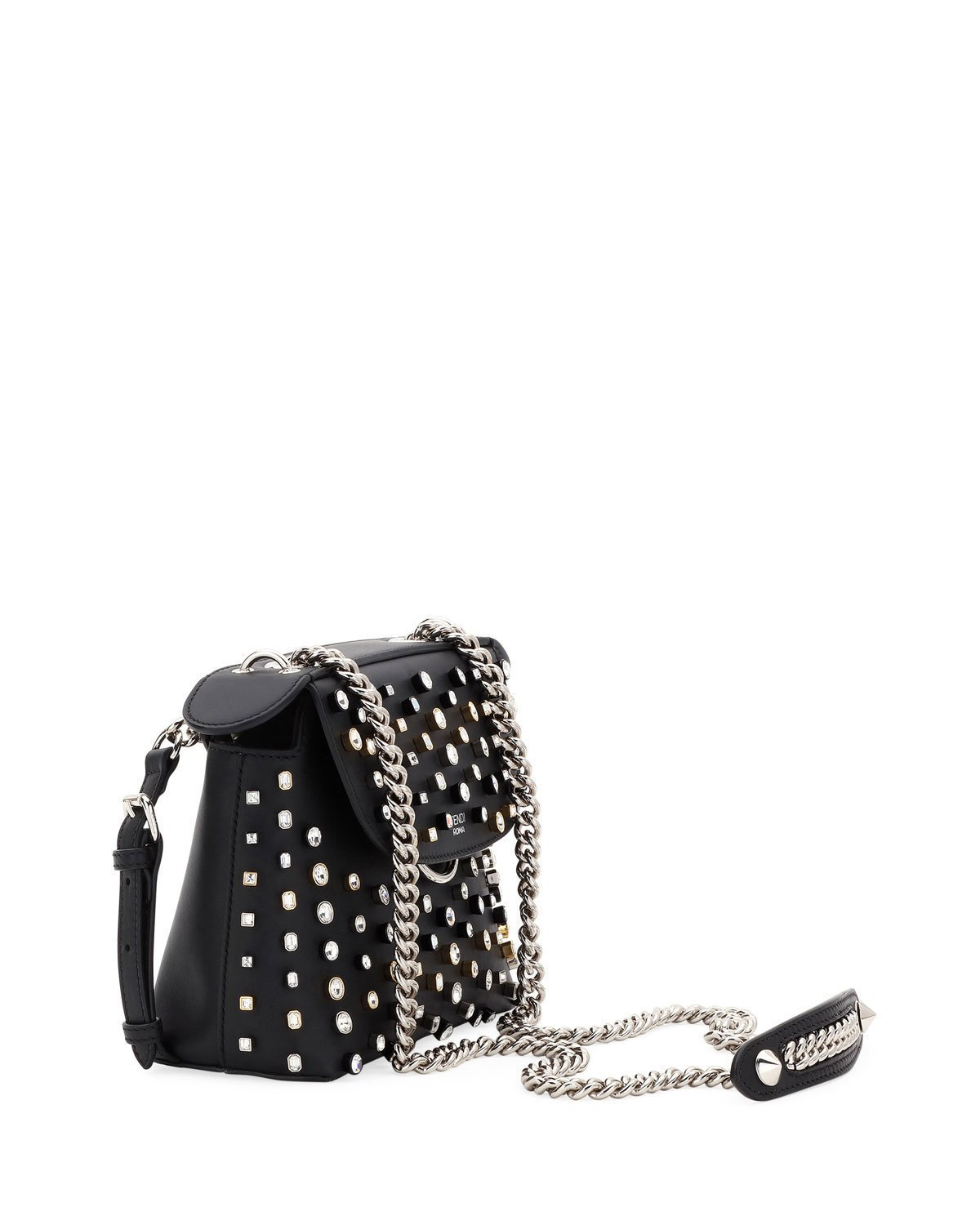 d37c017ad3 Fendi Crystal-Studded Black Leather Mini Backpack Cross-body Bag ...