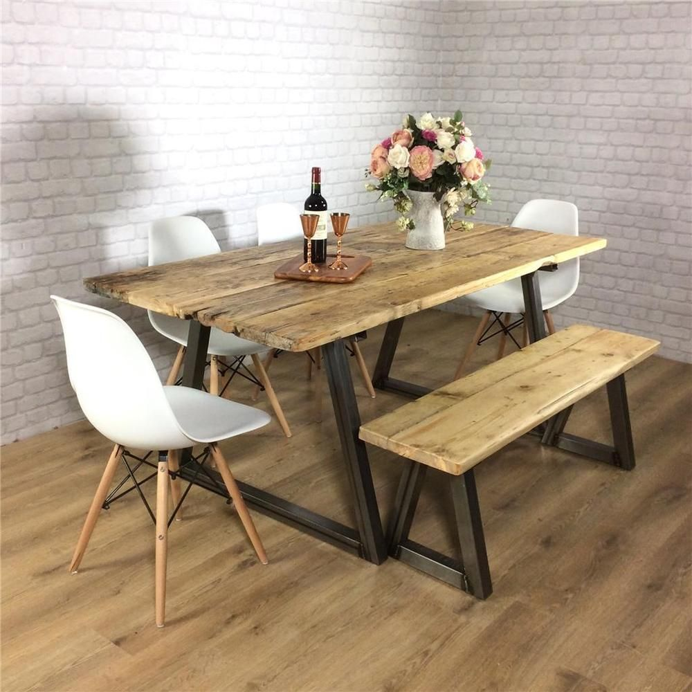 Industrial Dining Table Rustic Solid Antique Kitchen Farmhouse Impressive Dining Room Table And Chairs Ebay Inspiration Design