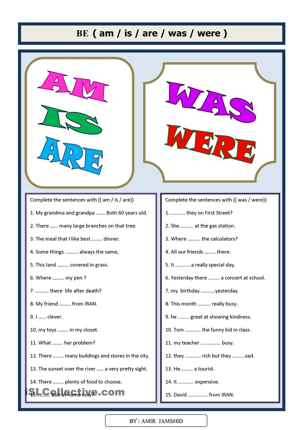 medium resolution of BE (( am/is/are/was/were))   English teaching materials