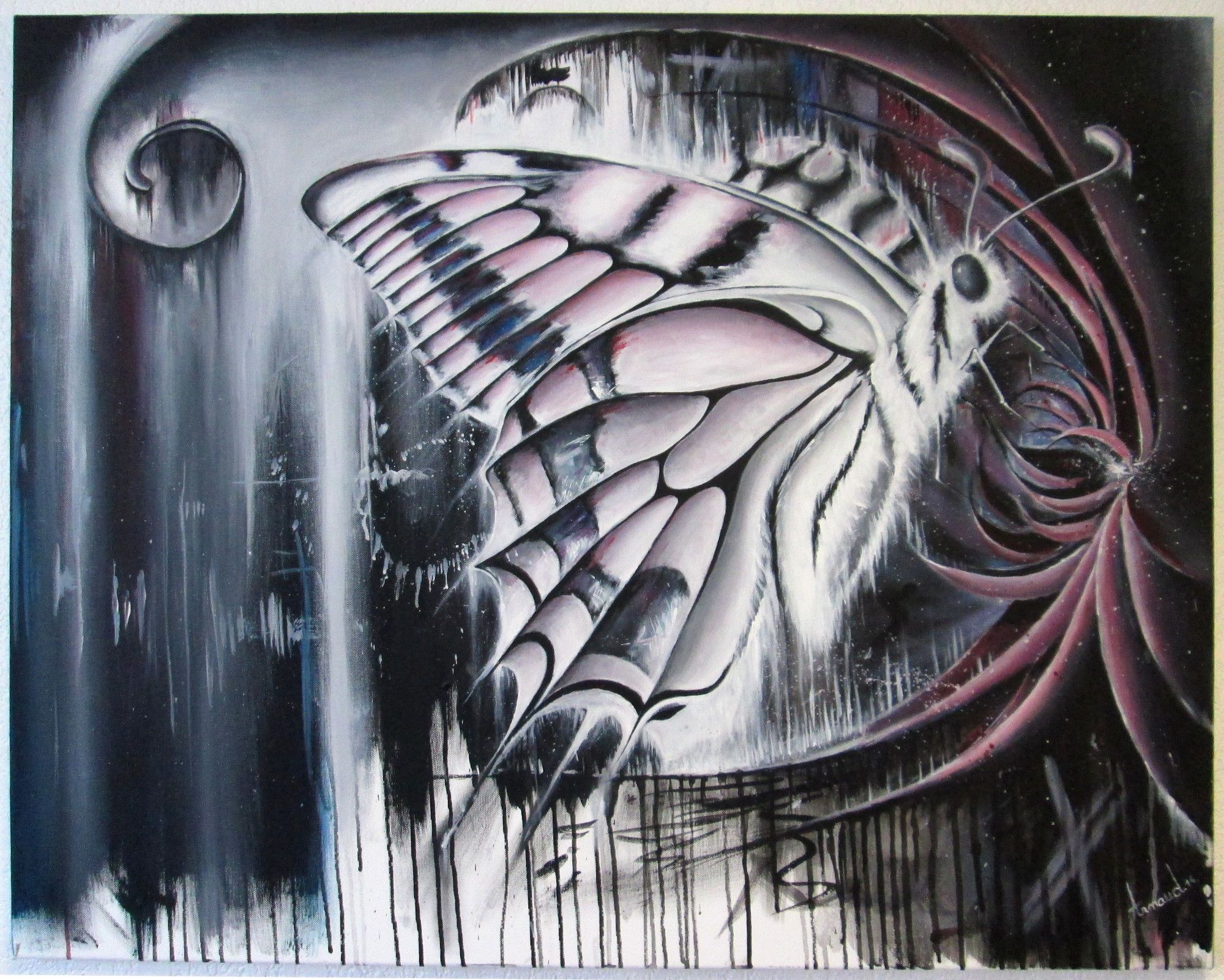 Butterfly - Acrylic on canvas (commission) https://www.facebook.com/apolette/photos/a.874438165909238.1073741828.874426055910449/874438339242554/