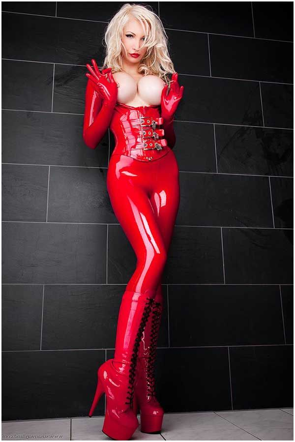 blonde milf latex Busty