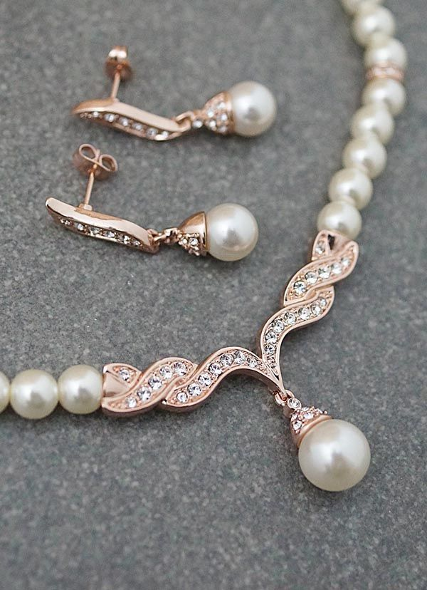 Pearl Bridal Jewelry Set Rose gold pearl Wedding blush and Rose