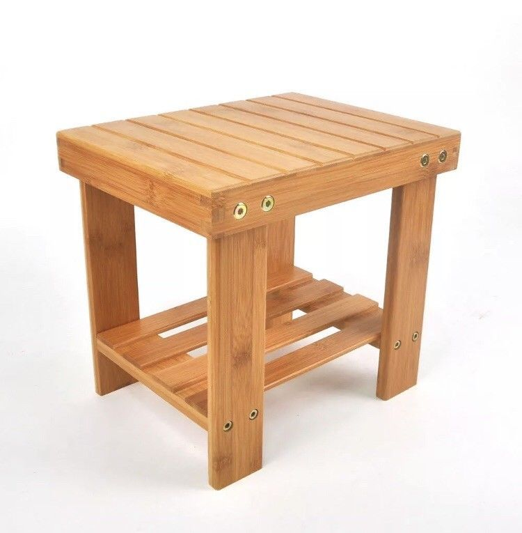 Shower Stool Seat Bathroom Spa Bench Corner Chair Bamboo Wood Bath Foot Rest 691165917830 Ebay Step Stool Bench Stool Stool