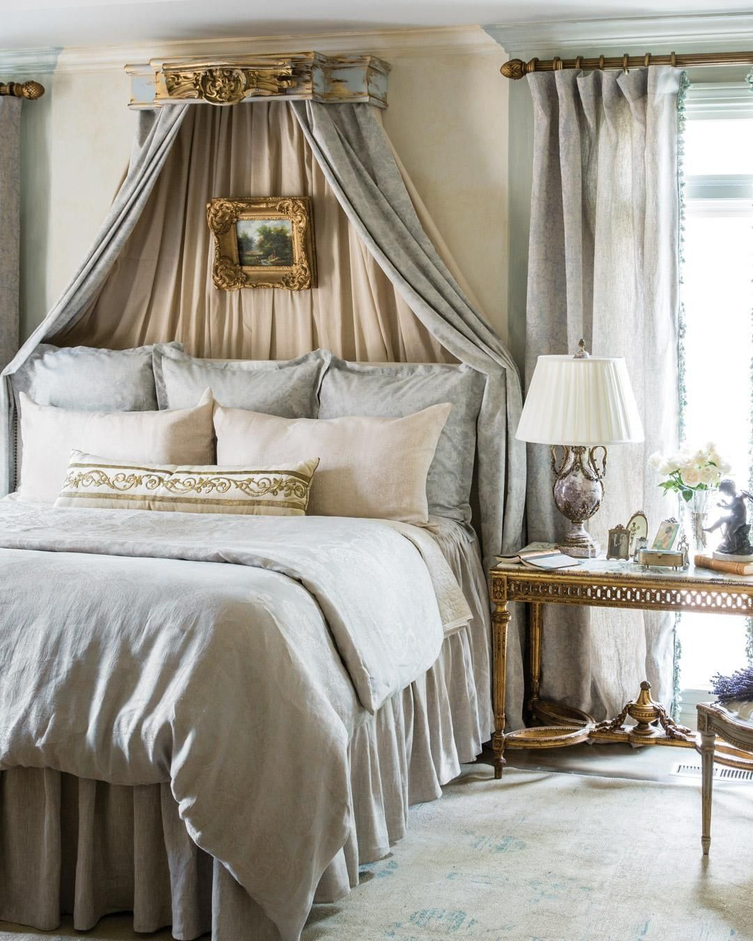 An Antique Ottoman Empire Raised Gold Metallic Embroidery Pillow By Bvizdesign Leans Against The Sumptuous Antique Ottoman Victoria Magazine French Empire Bed