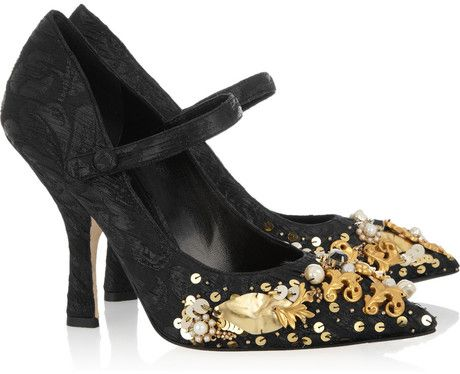 b00927bbdaf6 Embellished Brocade Mary Jane Pumps - Lyst ~ Dolce   Gabbana Black  Embellished Brocade Mary Jane Pumps Covered heel measures approximately  100mm  4 inches.
