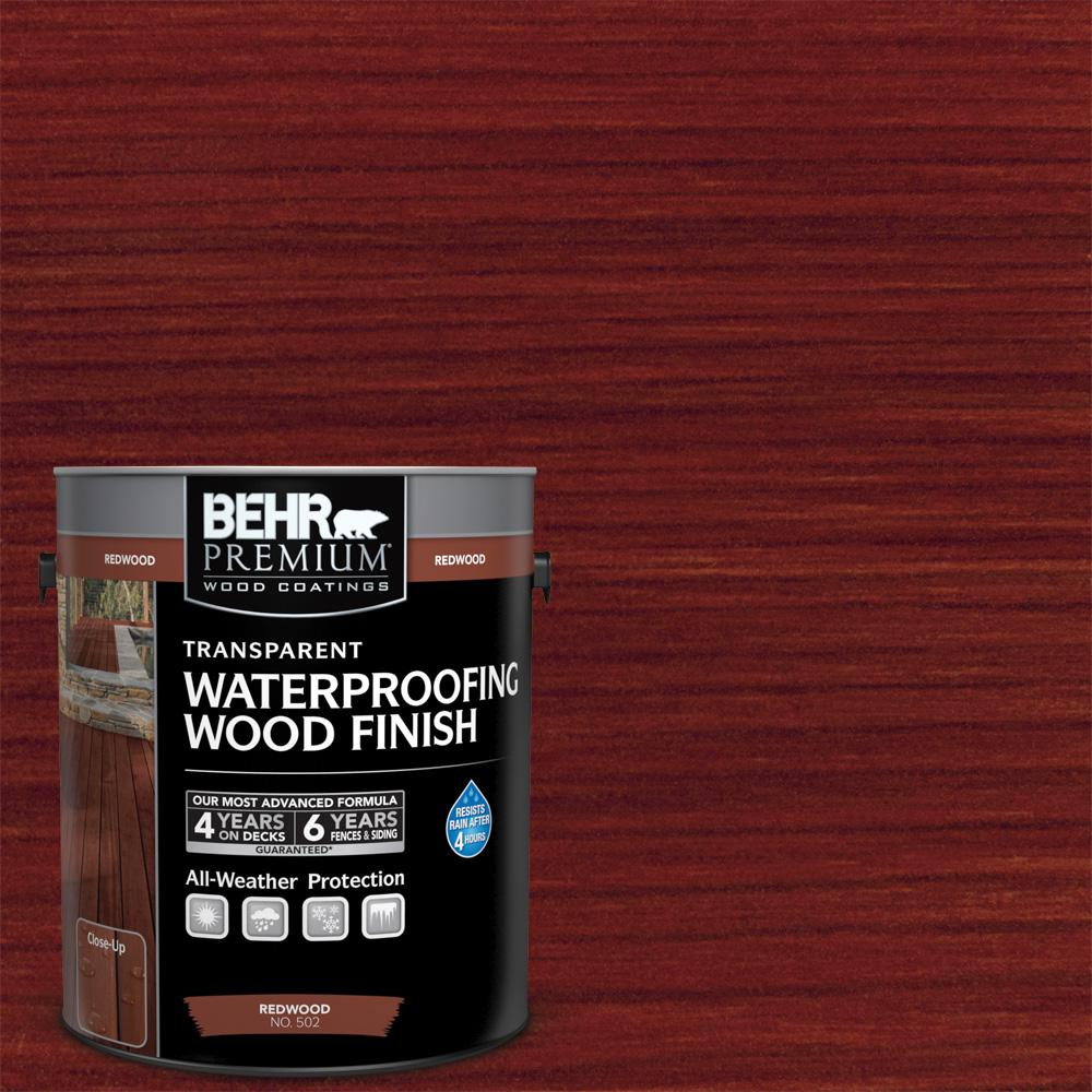Behr Premium 1 Gal T 330 Redwood Transparent Waterproofing Exterior Wood Finish 50201 The Home Depot Exterior Wood Stain Staining Wood Wood Finish