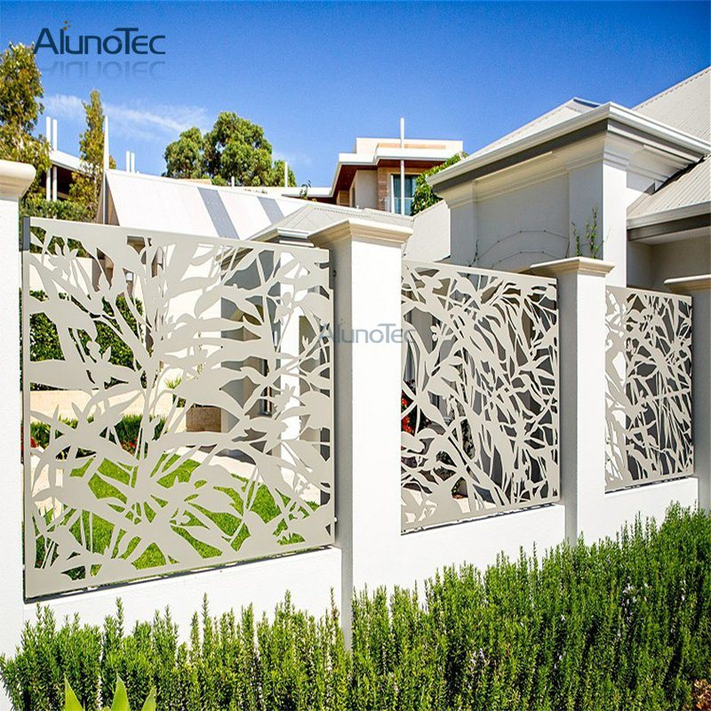 Material Metal Color Customized Solid Color Woodgrain Or Rockgrain Feature Easily Assembled Eco Friendly Rot Proof Fence Design Metal Screen Gate Design