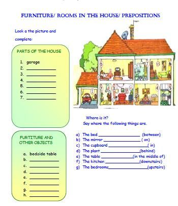 rooms in the house and prepositions worksheet teaching english pinterest prepositions. Black Bedroom Furniture Sets. Home Design Ideas