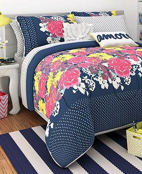 seventeen bedding, chloe garden twin comforter set - bed in a bag